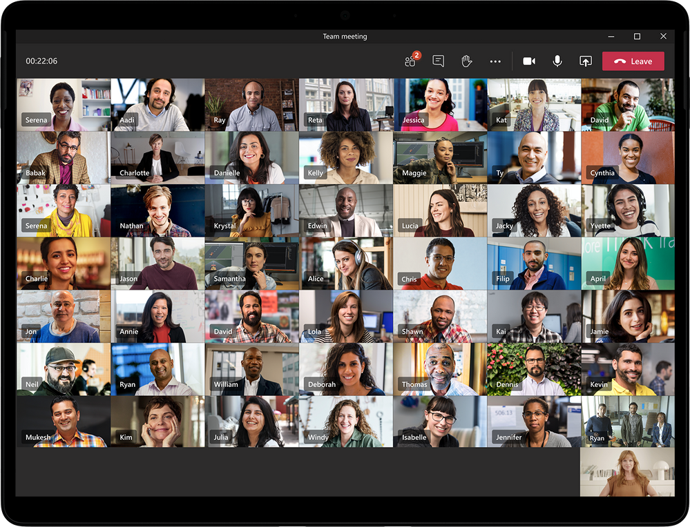 Large gallery view in Microsoft Teams meetings showing 49 participants at once on a single screen.
