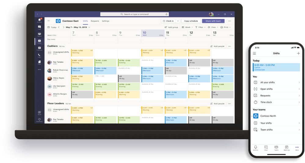 Shifts calendar view on desktop (left) and Shifts daily view for mobile (right).