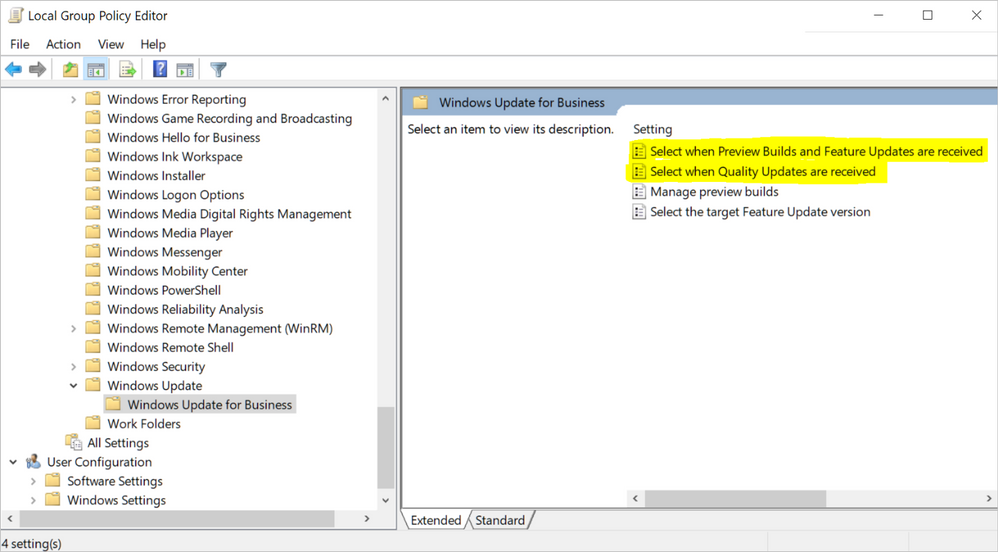 Windows Update for Business settings in the Local Group Policy Editor