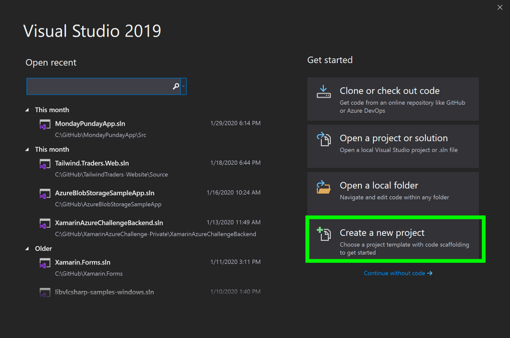 Visual Studio, Create New Project