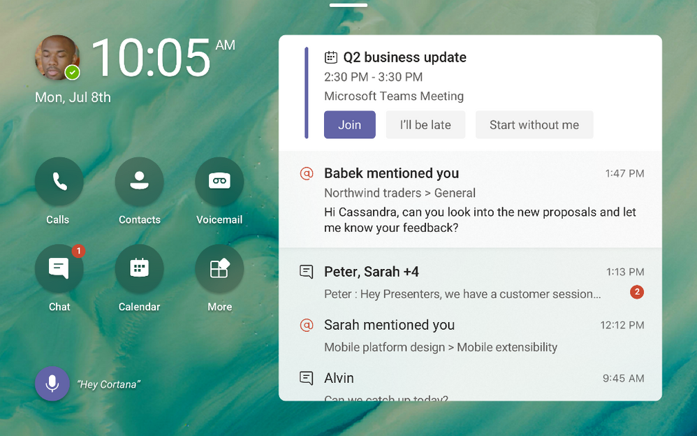 Microsoft Teams displays can be personalized to include wallpapers and highligh important activities and notifications.