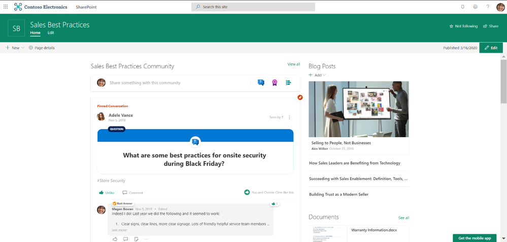 Leverage Yammer communities to share knowledge and best practices alongside helpful resources.