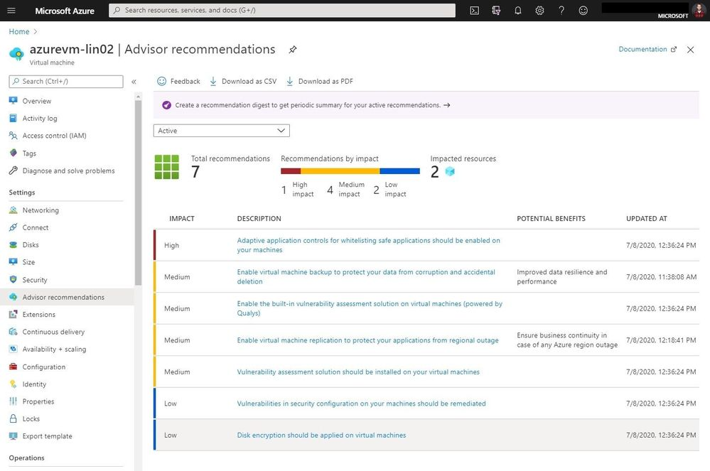 Azure Advisor recommendations for Azure VMs
