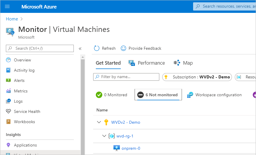 Screenshot of Monitor page in Azure for Virtual Machines