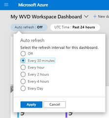 Selecting and applying refresh intervals for the dashboard