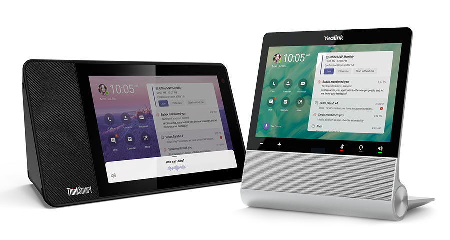 The first Microsoft Teams displays are from Lenovo (left) and Yealink (right).