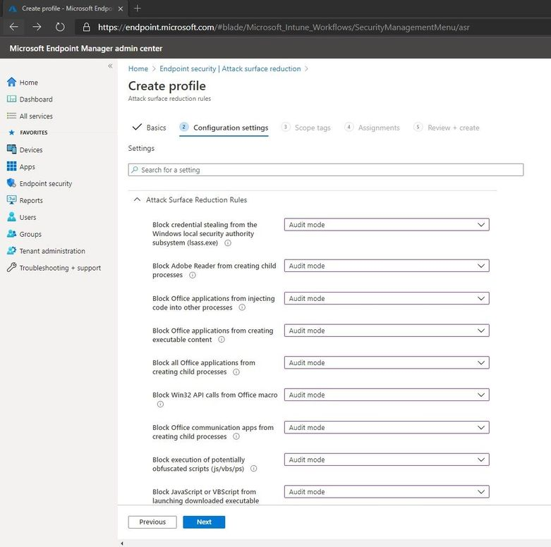 Configuring Settings for the ASR Policy