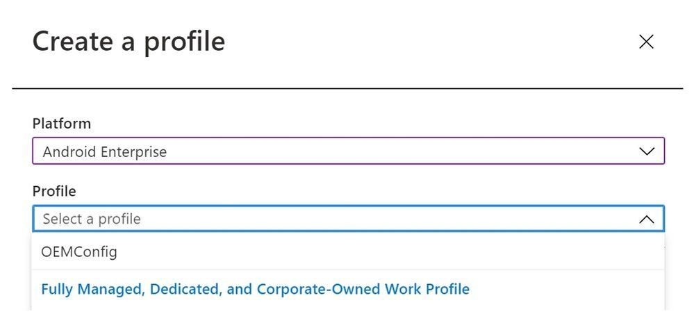 Create a profile - Device configuration profile