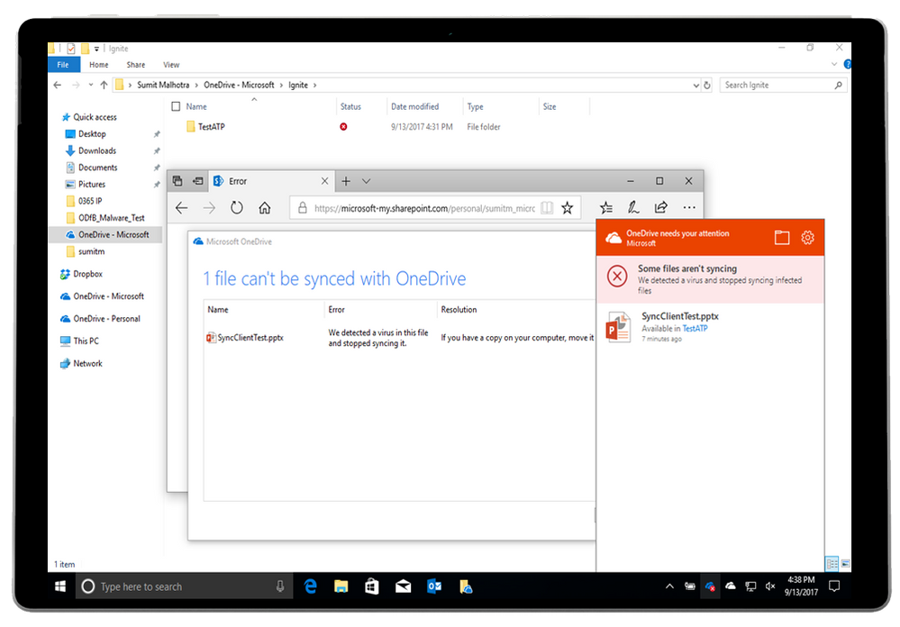 Example of Advanced Threat Protection protecting a file in OneDrive for Business