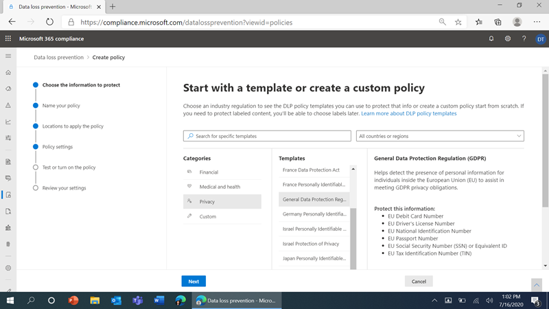 Figure 4: Easy DLP policy configuration in the Microsoft 365 compliance center