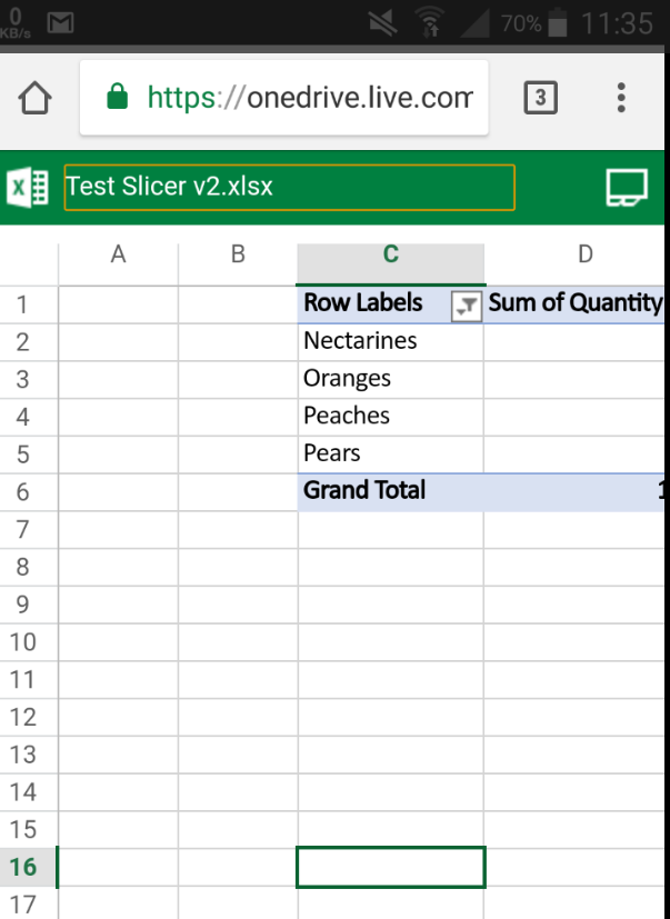 Sharing in Excel Online in OneDrive - Pivot table slicers don't