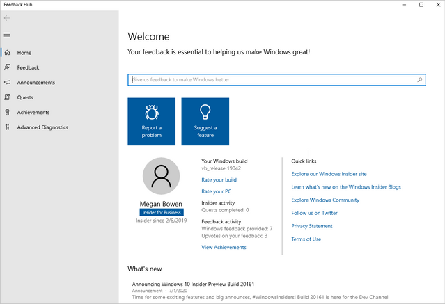 Screenshot of Feedback Hub