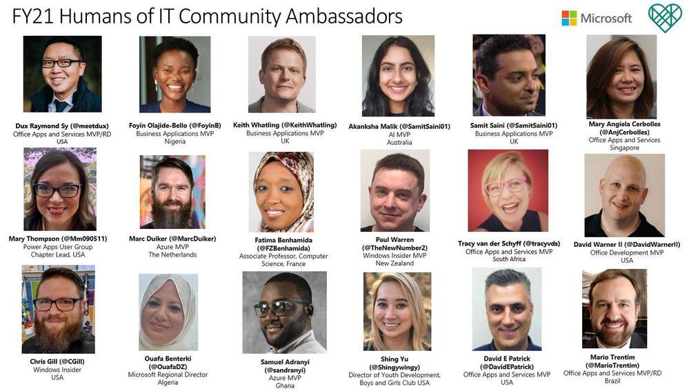 FY21 Humans of IT Community Ambassadors