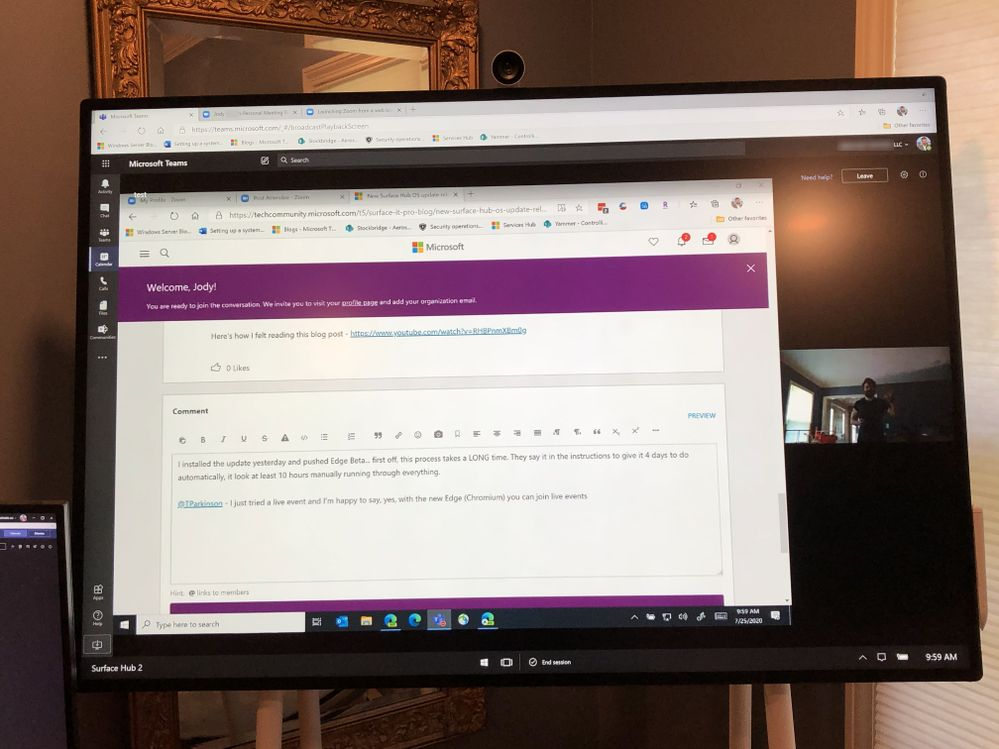Teams running in Edge Chromium on Surface Hub - During Live Meeting