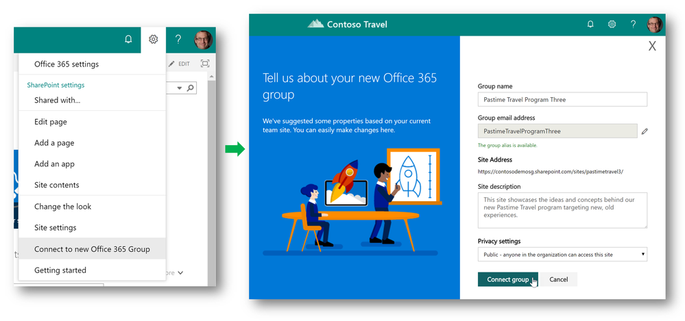 Site owners can connect existing team sites to new Office 365 Groups.