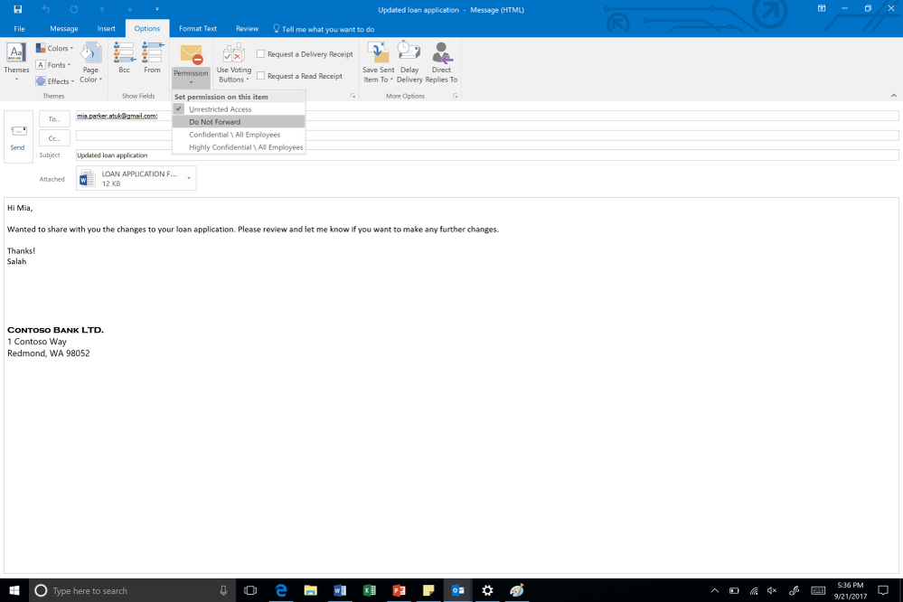 example of an email being protected in the outlook rich client