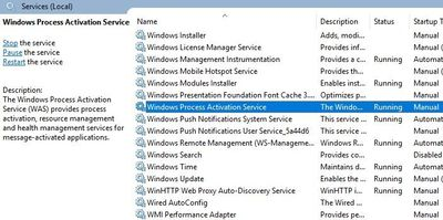 Event ID 7023: The Windows Process Activation Service terminated