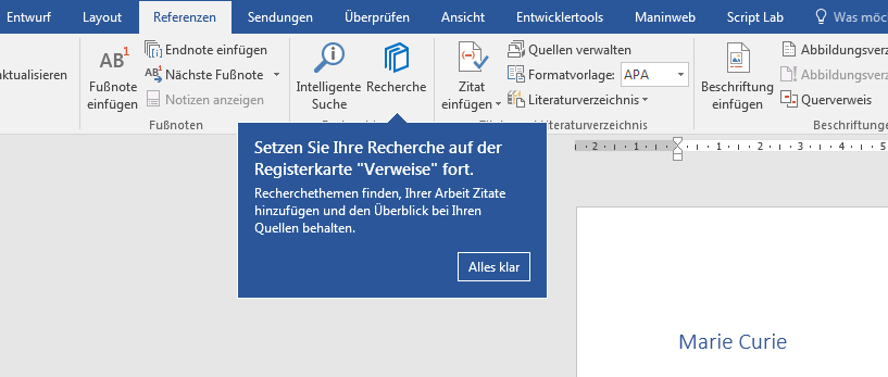 Research Feature Tooltip Refers To Wrong Ribbon Tab In Word
