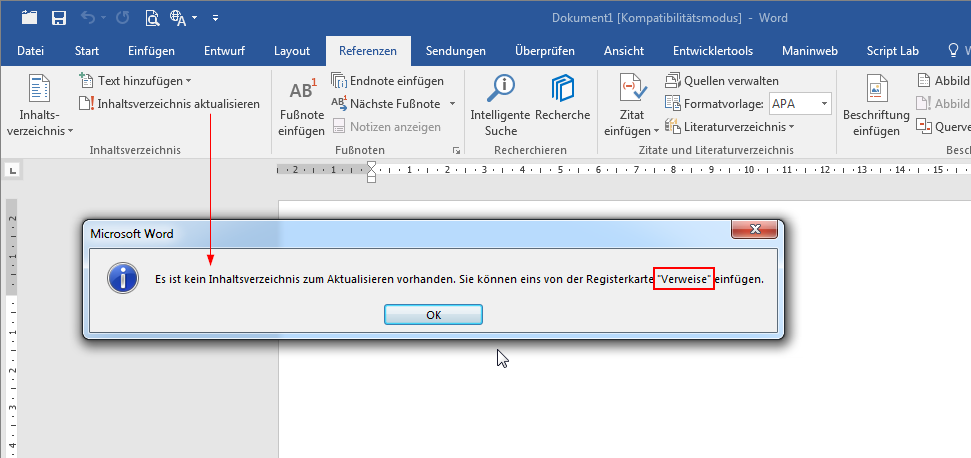 Old Ribbon Tab Name In A Dialog For Word 2016 German