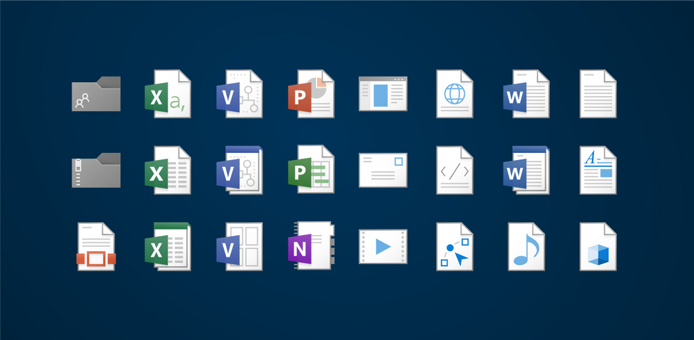 A diagram illustrates the alignment of visual elements that make up the design of all file type icons, and a selection of various icons used for different kinds of files.