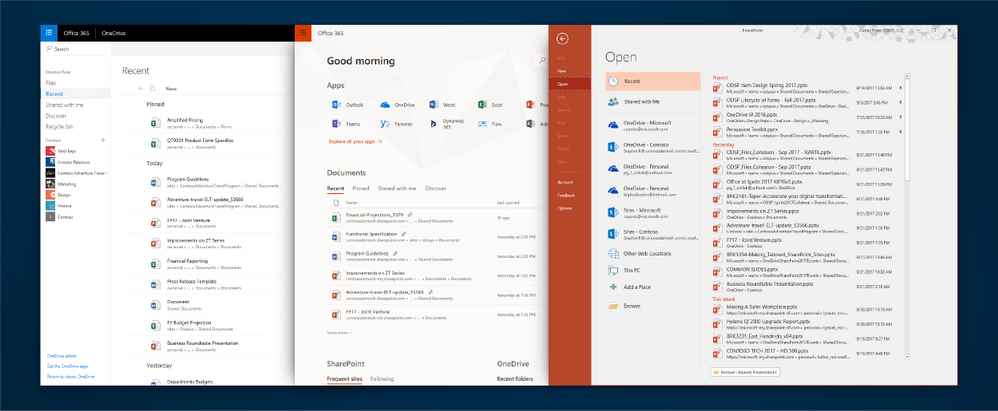An image of OneDrive's Recent Files view, Office.com's Recent View and the same functionality as it appears in the PowerPoint app for Windows.