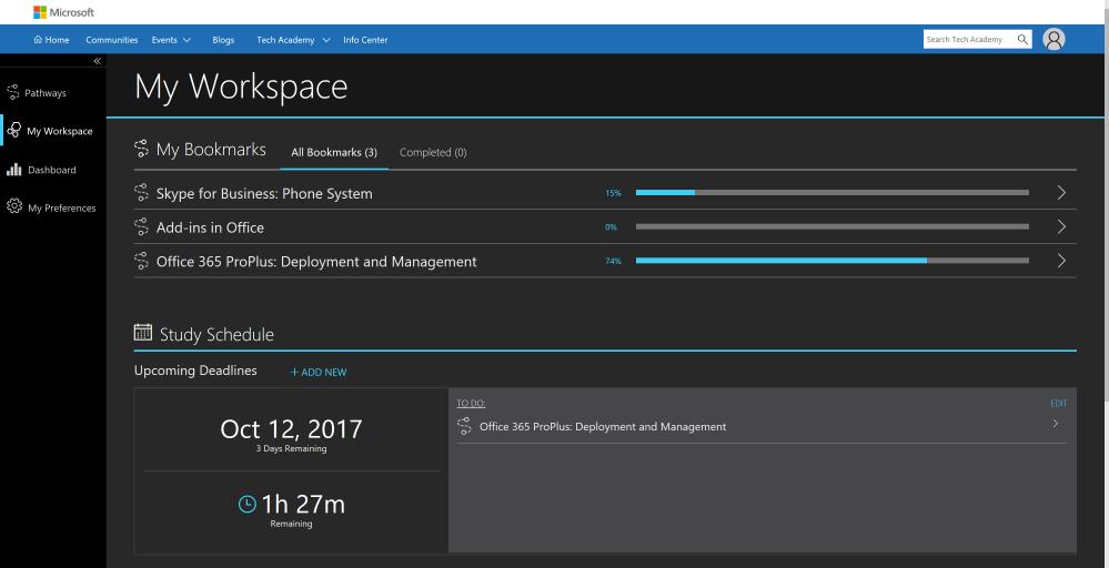 My Workspace page on Microsoft Tech Academy