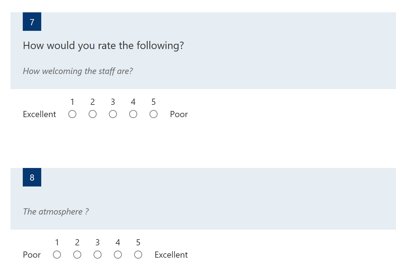 Do we have multiple choice grid in Microsoft Forms