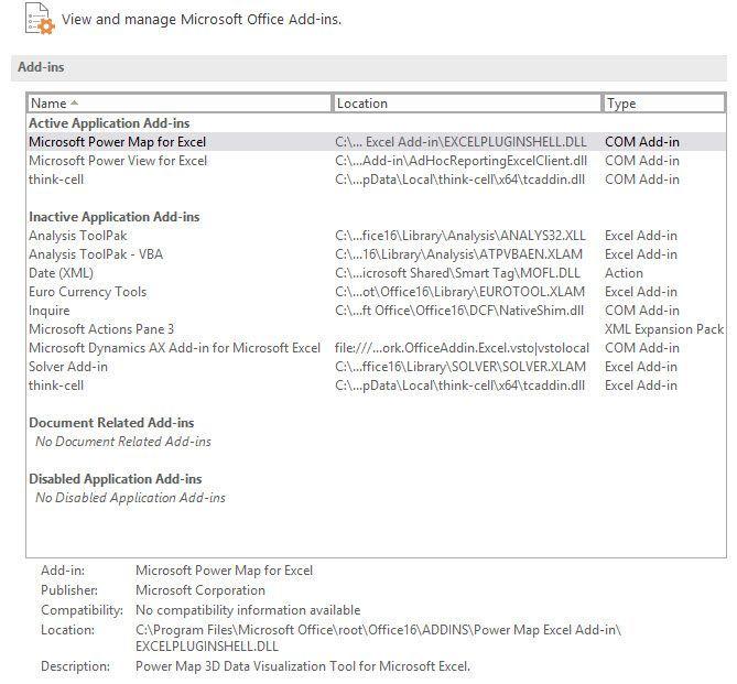 Power Pivot add-in lost - Office365 ProPlus - Microsoft Tech