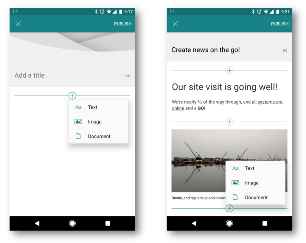 Create, edit and publish news, now from your Android device.