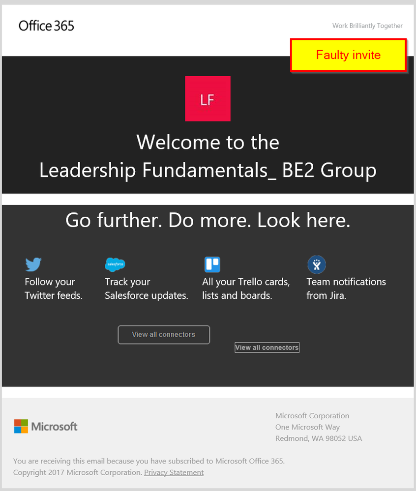 faulty office 365 groups invitation mail microsoft tech community