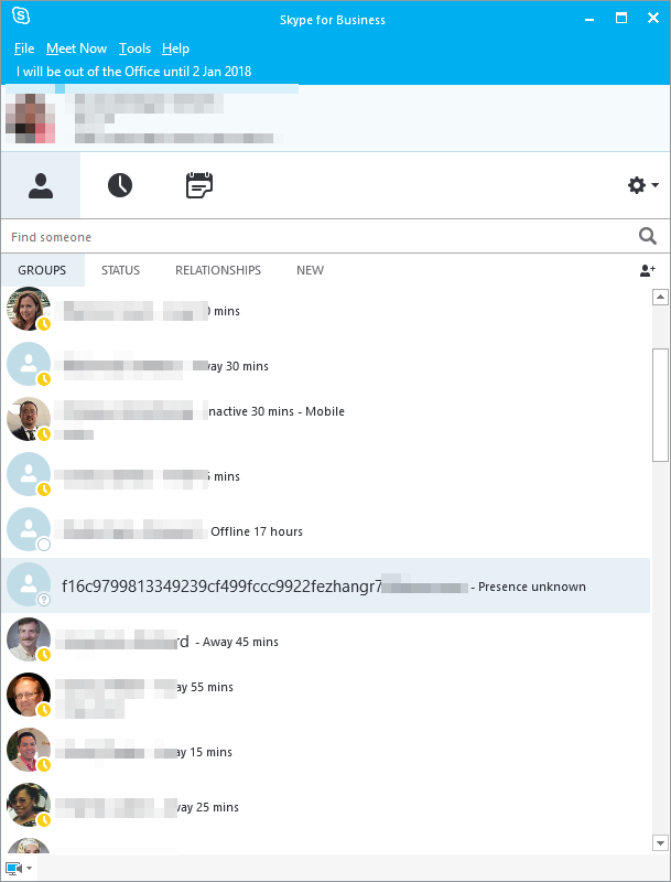 skype for business out of office