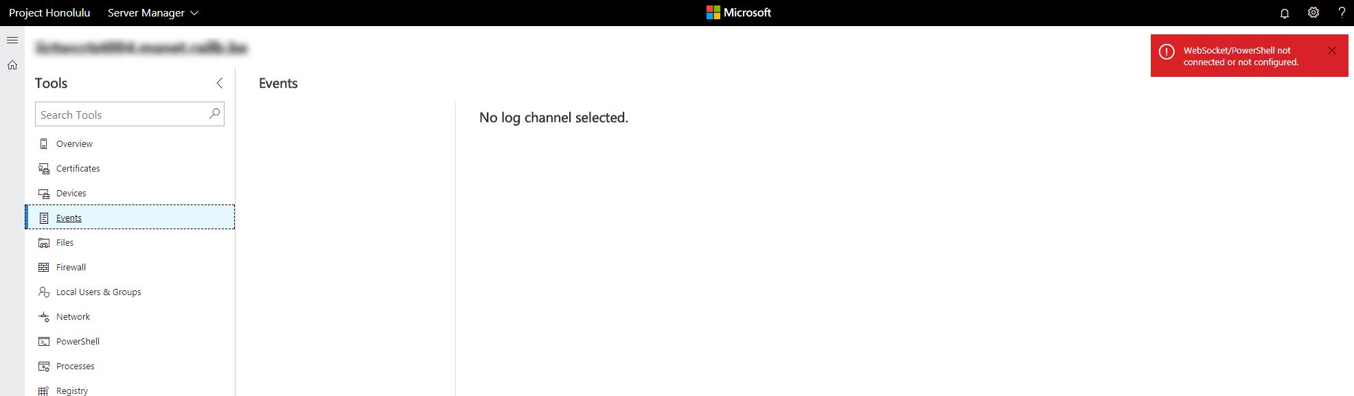 Error with tool Events : no log channel selected (v1712 b1 1 1712