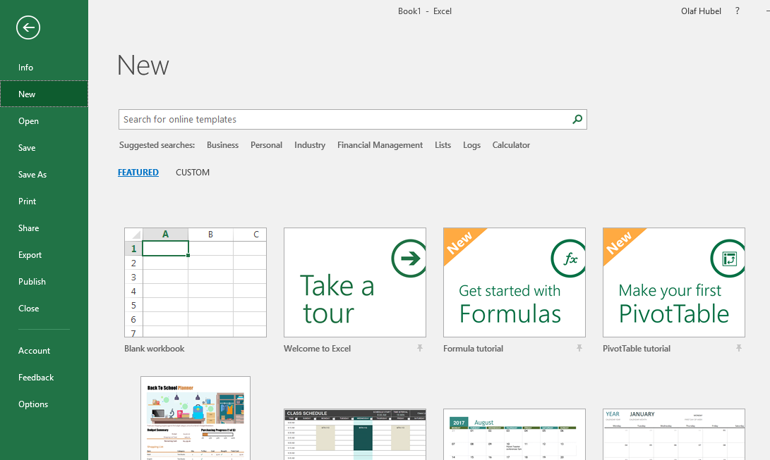 New learning templates in Excel