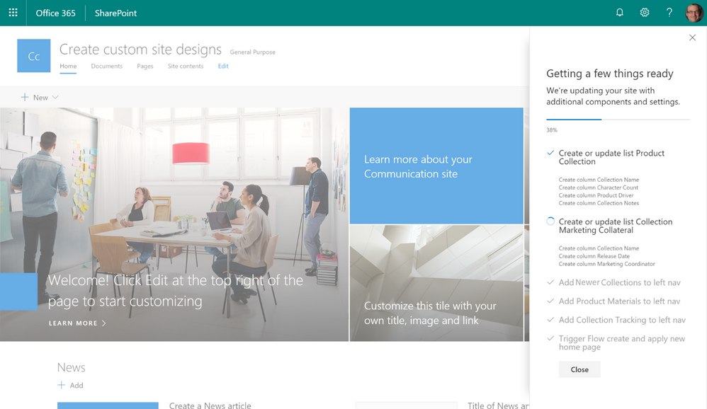 Create and use custom sharepoint site designs in office 365 maxwellsz