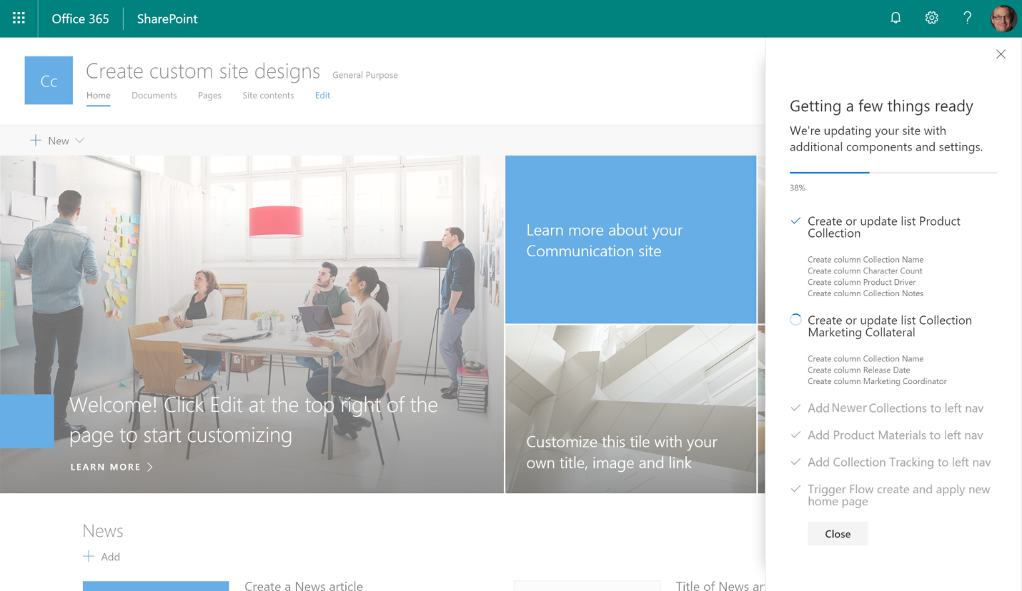Create and use custom sharepoint site designs in office 365 for Design your office online