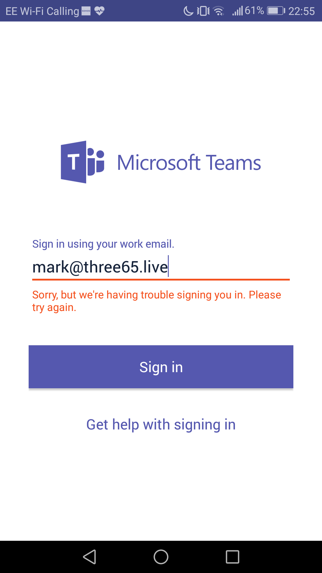 Teams client won't sign in on Android - Microsoft Tech