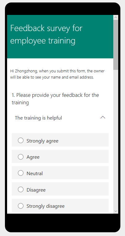 Use the Likert, a new survey question type in Microsoft