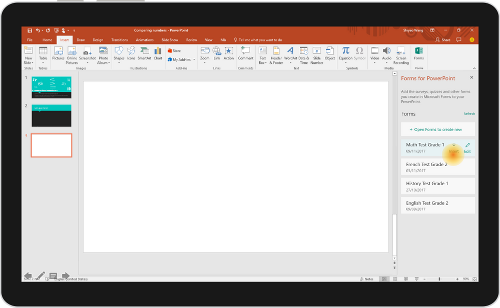integrating microsoft forms into powerpoint under development