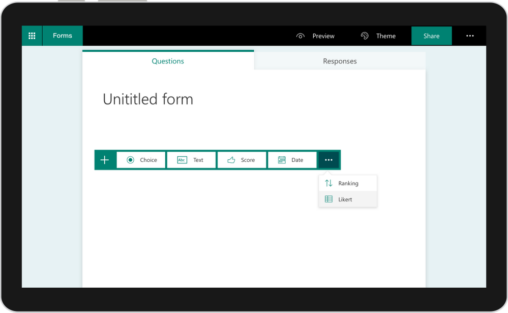 use the likert a new survey question type in microsoft forms