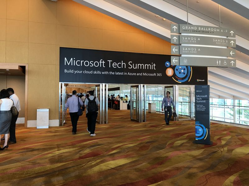 Entrance to the Microsoft Tech Summit Singapore at the Marina Bay Sands.