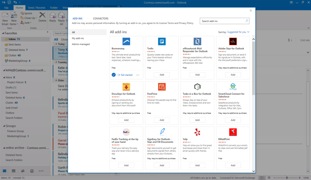 The redesigned add-in store within Outlook with the new tiles layout