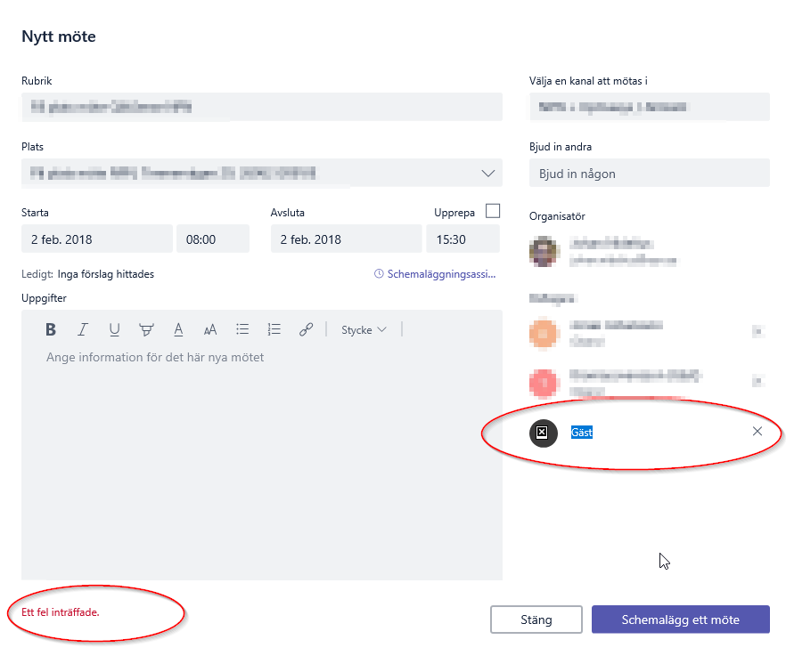 unable to schedule a meeting from inside microsoft teams