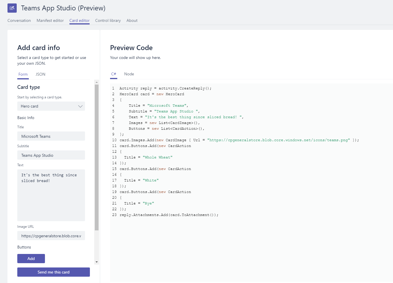 Microsoft Teams App Studio (Preview)