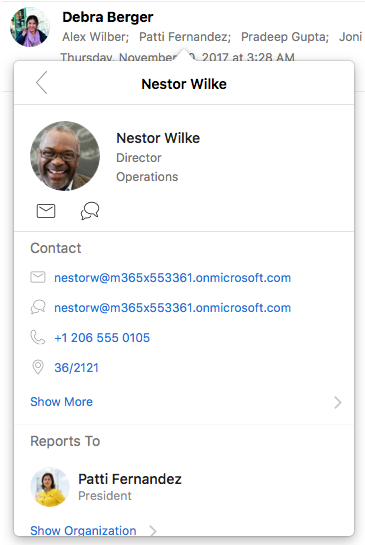 View contacts in organization