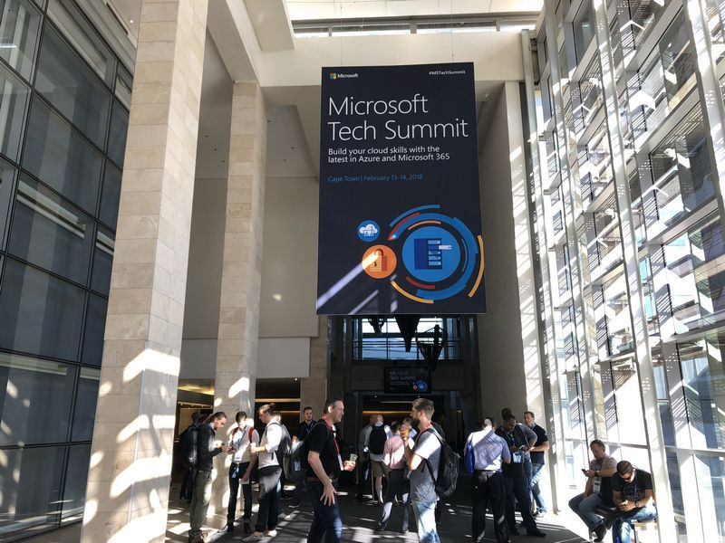 Attendees waiting to enter the Microsoft 365 keynote at Microsoft Tech Summit Cape Town.