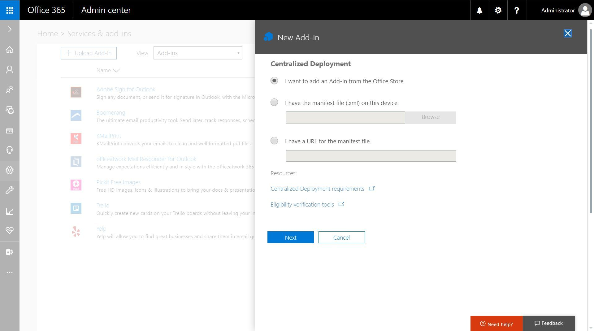 Centralized Deployment for Outlook add-ins will now be