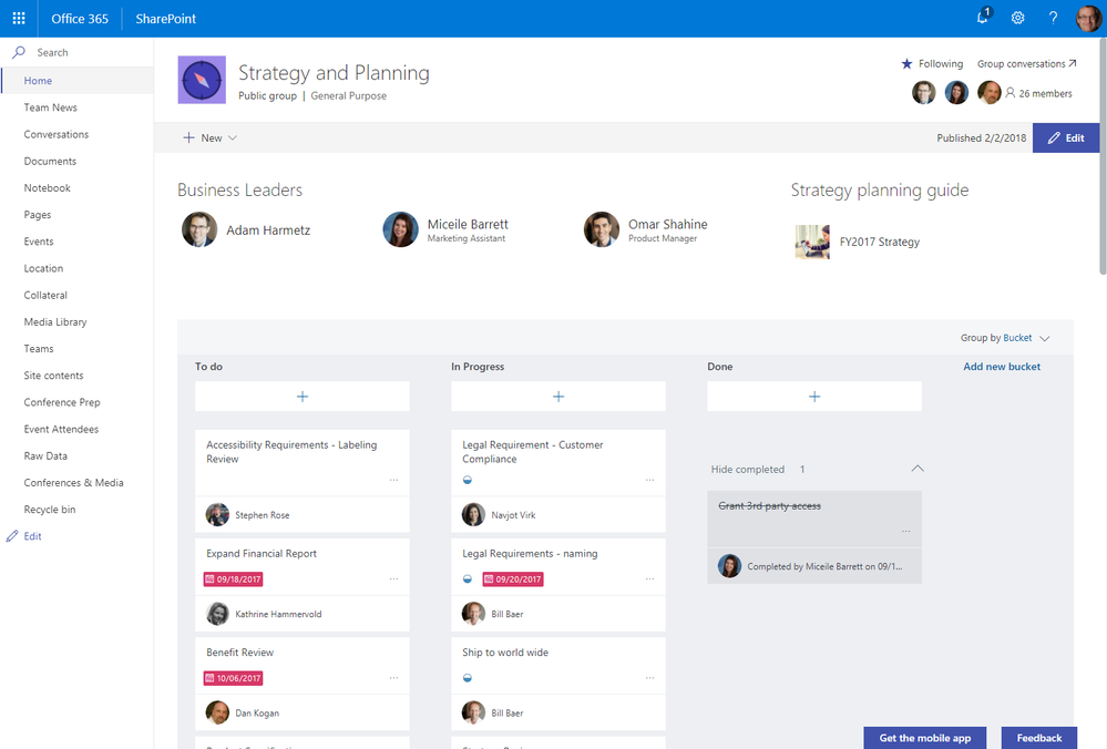 The Planner web part in 'boards' mode on the home page of a SharePoint team site.