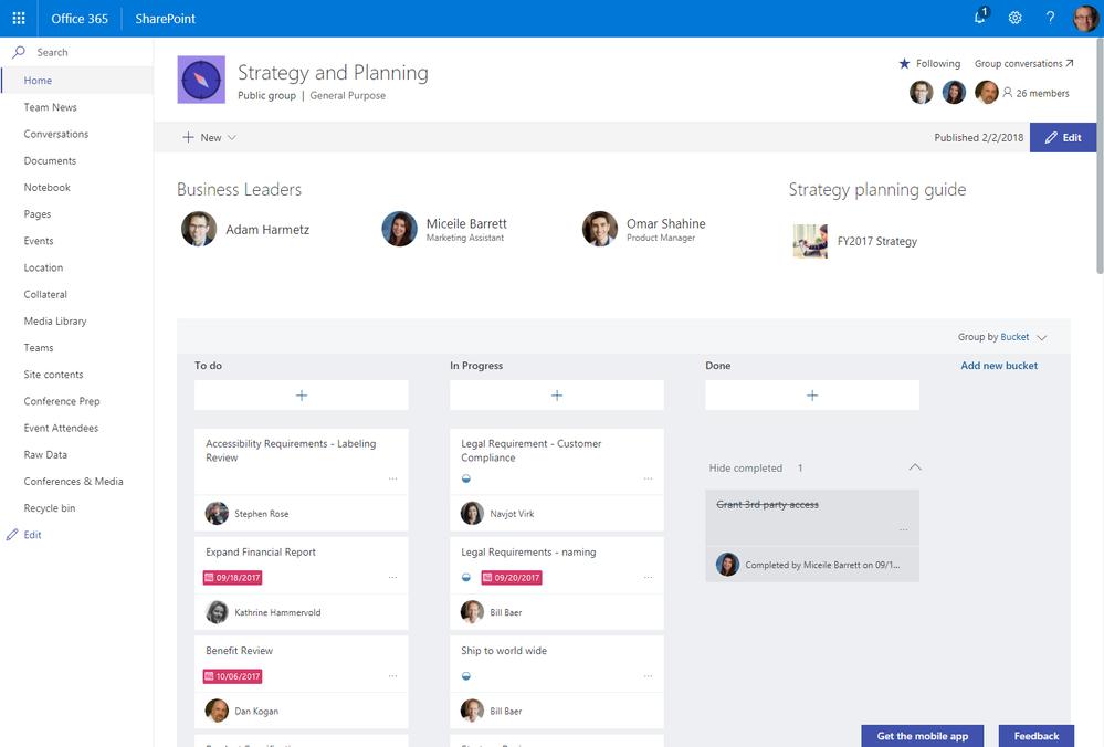 Het webonderdeel Planner in de modus 'boards' op de startpagina van een SharePoint-teamsite.
