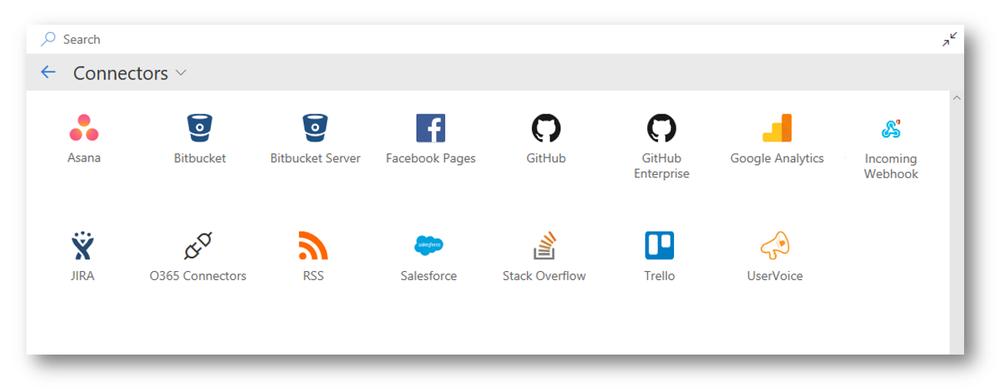 Het webonderdeel Office 365-connectoren, nadat u op 'Alles weergeven' heeft geklikt.