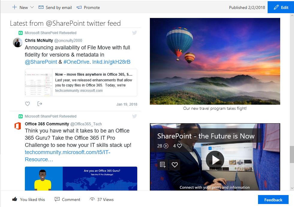 The Twitter web part showing the @SharePoint feed alongside an image and a video.